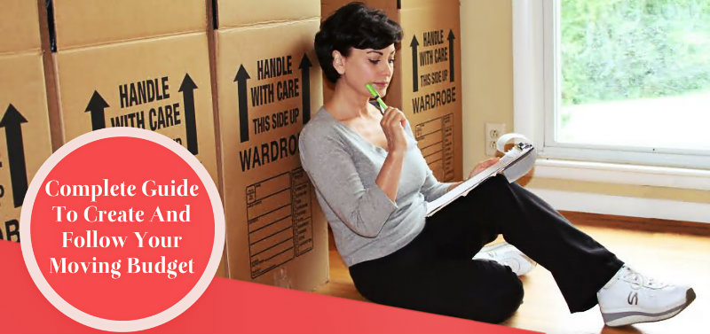 young woman sitting on floor and calculating the cost of the move